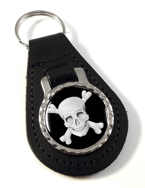 Skull and Crossbones Jolly Roger Leather Key Fob