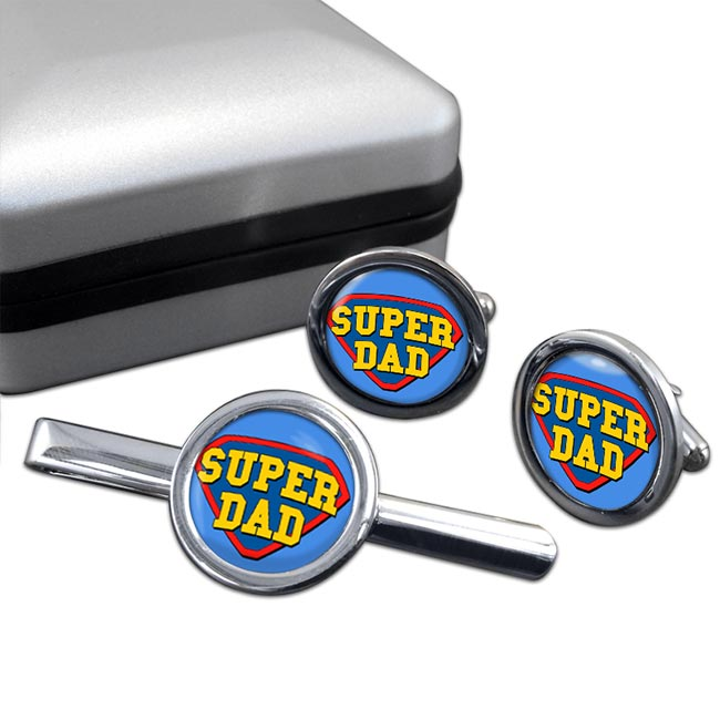 Super Dad Round Cufflink and Tie Clip Sert