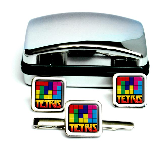 Tetris Square Cufflink and Tie Clip Set