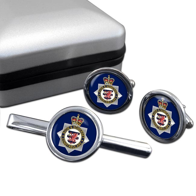Avon and Somerset Constabulary Round Cufflink and Tie Clip Set
