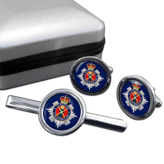 Ayrshire Constabulary Round Cufflink and Tie Clip Set
