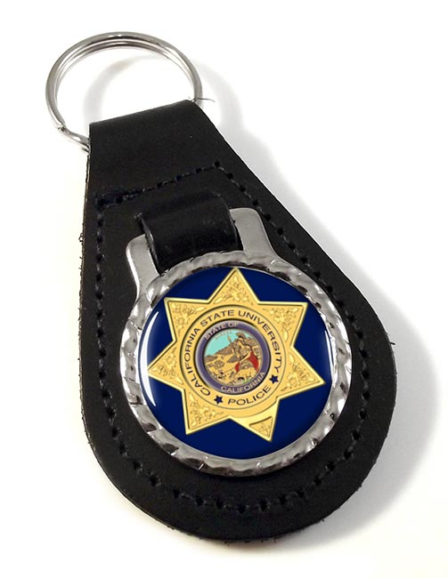 California State University Police Leather Key Fob