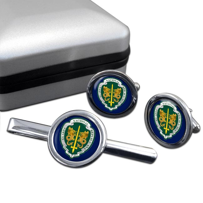 Guarda Nacional Republicana Round Cufflink and Tie Clip Set