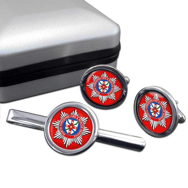 North Yorkshire Fire and Rescue Service Round Cufflink and Tie Clip Set