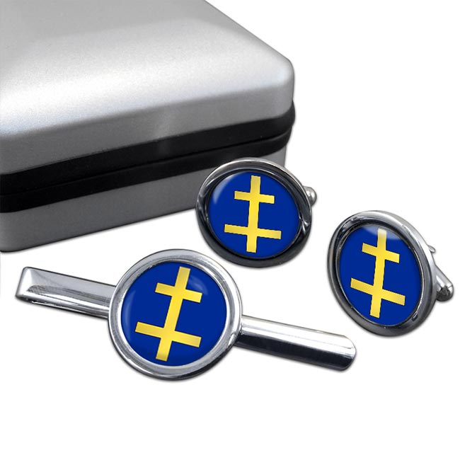 Perceptor Cross of Lorraine Round Cufflink and Tie Clip Set