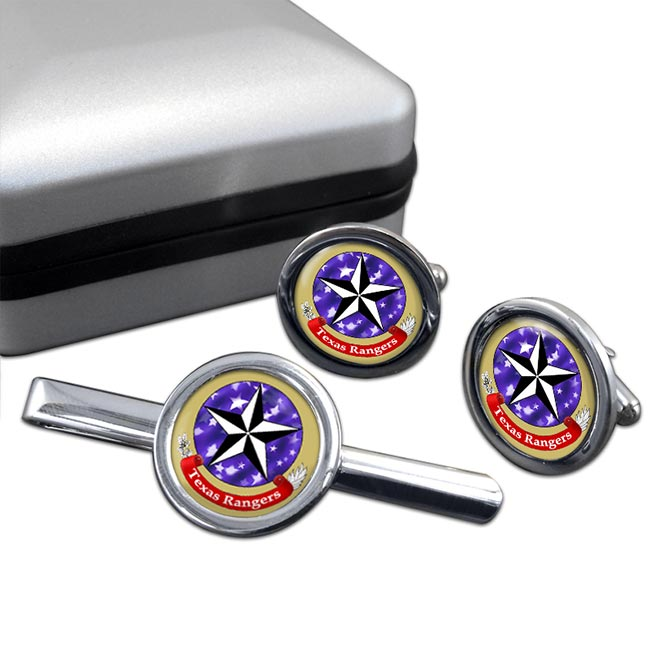 Texas Ranger Division Round Cufflink and Tie Clip Set