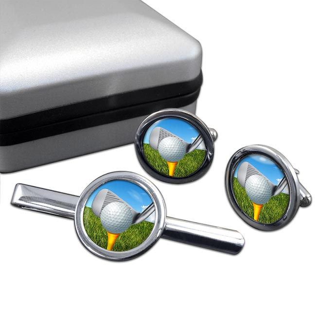 Golf Addressing the ball Round Cufflink and Tie Clip Set
