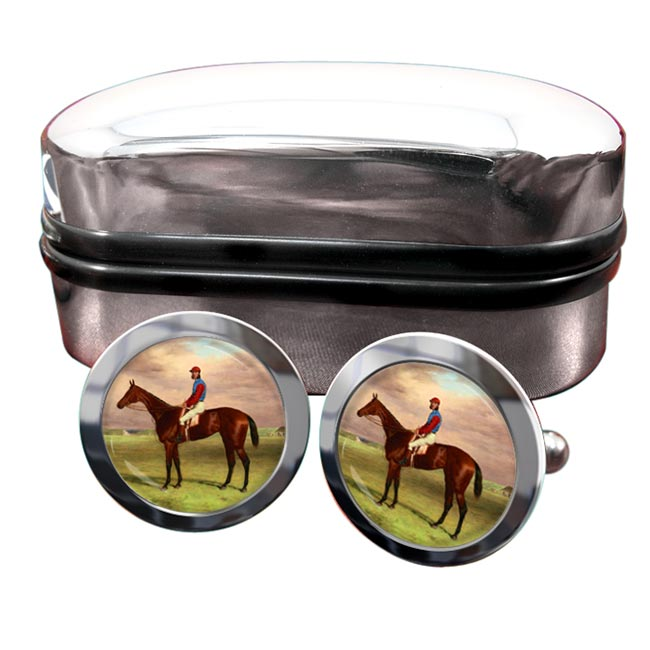 Bay Filly Agility by H. Hall Round Cufflinks