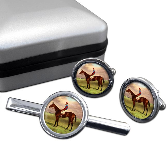 Bay Filly Agility by H. Hall Round Cufflink and Tie Clip Set