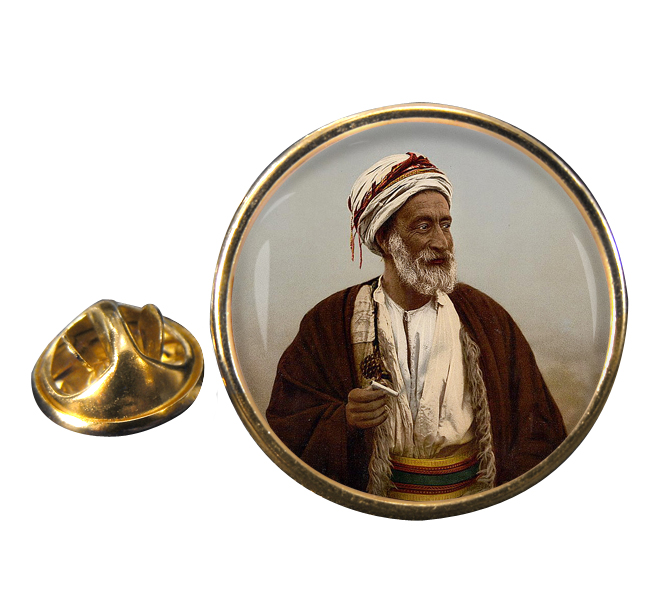 A Bedouin Sheik Round Pin Badge