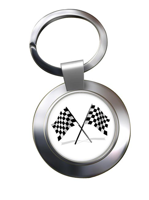 Chequered Flags Chrome Key Ring