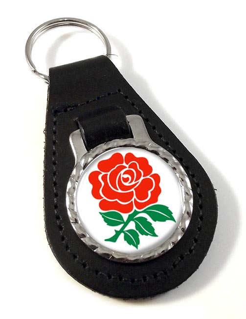 English Rose Leather Key Fob