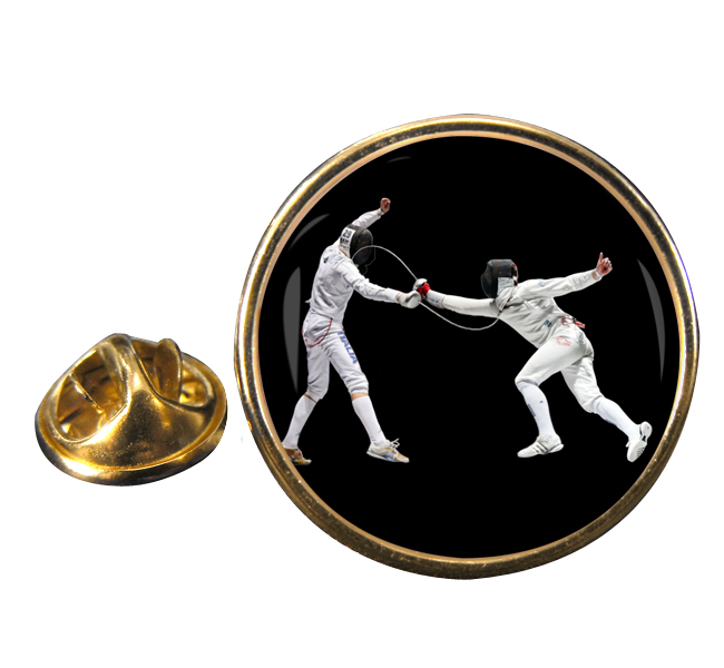 Fencing Round Pin Badge