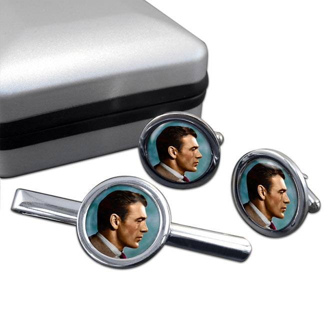 Gary Cooper Round Cufflink and Tie Clip Set