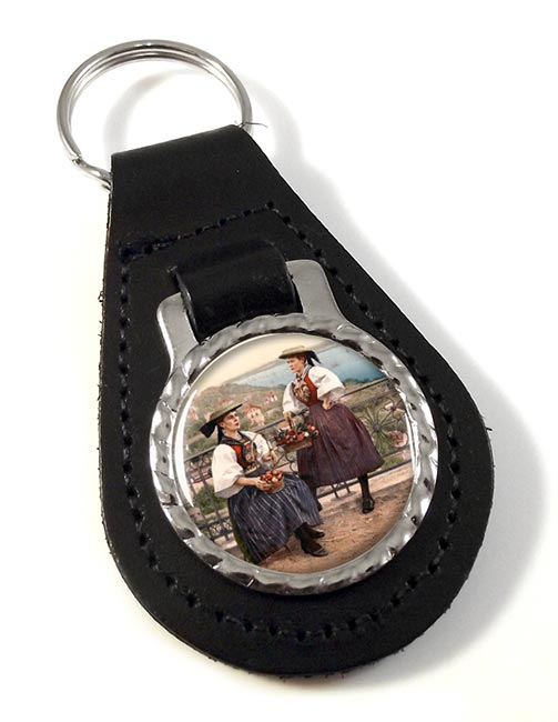 German National Costume Leather Key Fob