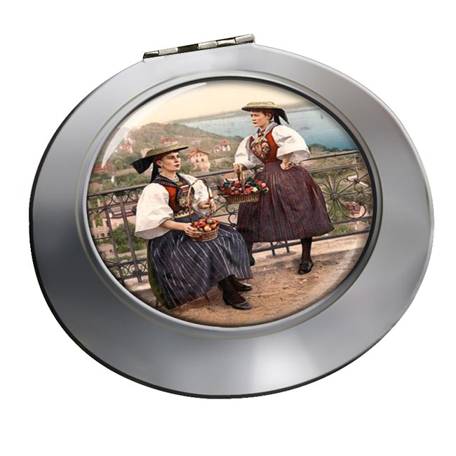 German National Costume Chrome Mirror
