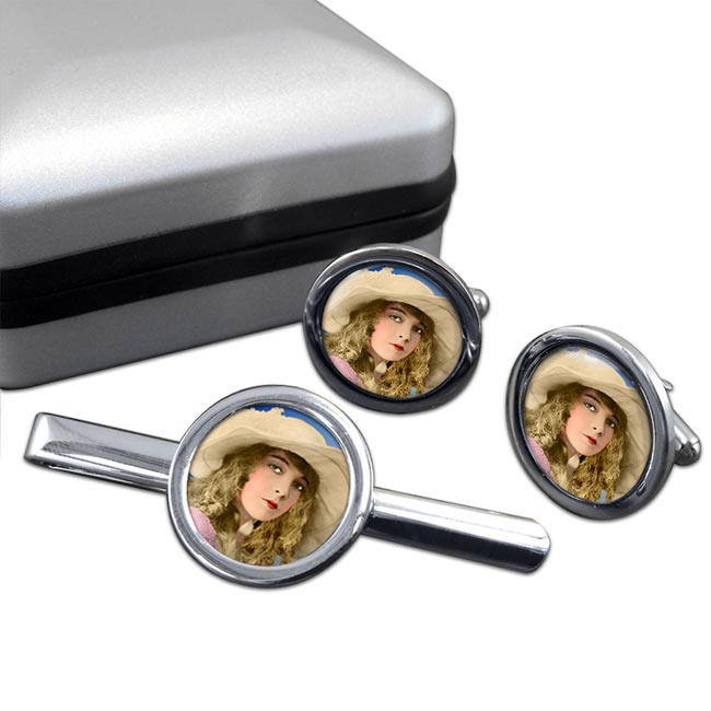 Lillian Gish Round Cufflink and Tie Clip Set
