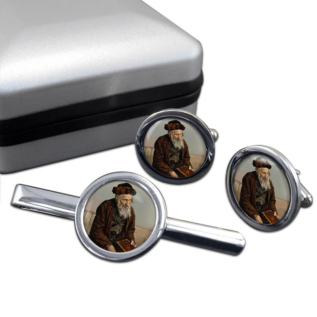 An Israelite of Jerusalem Round Cufflink and Tie Clip Set