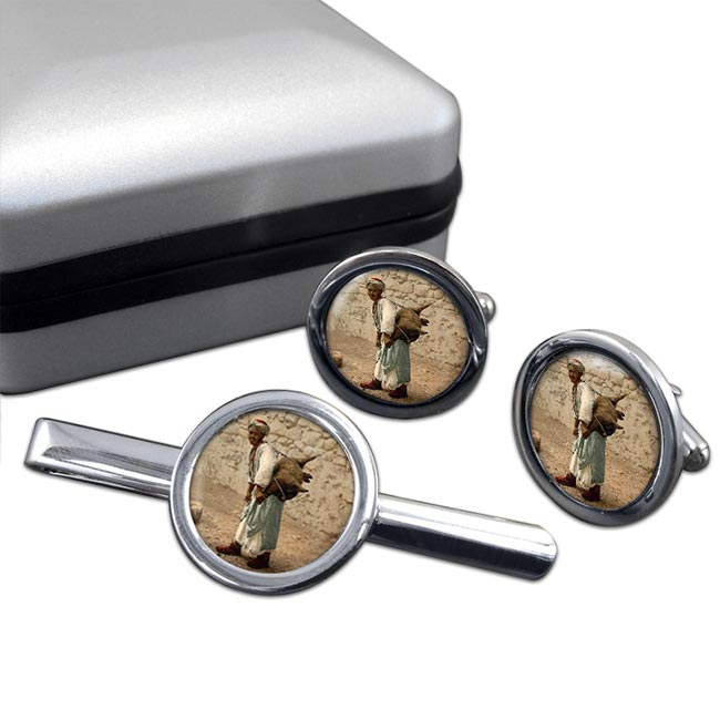 Jerusalem Water Seller Round Cufflink and Tie Clip Set