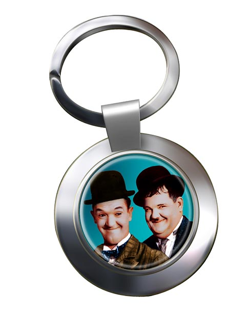 Laurel and Hardy Chrome Key Ring
