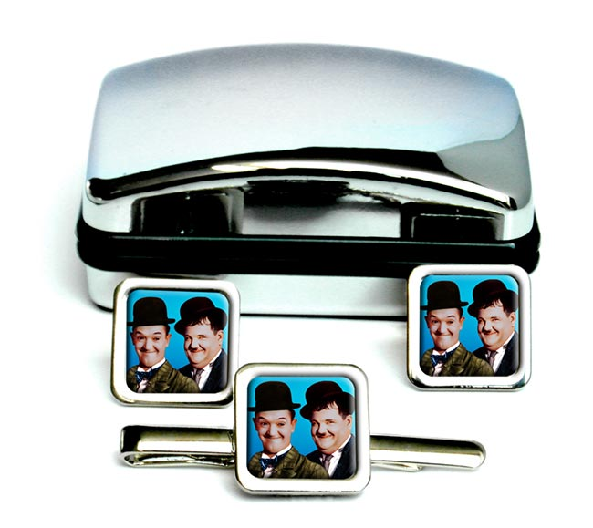 Laurel and Hardy Square Cufflink and Tie Clip Set