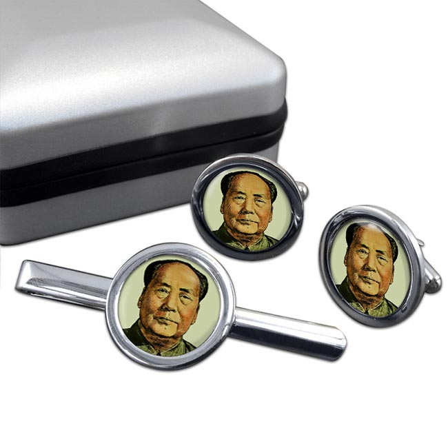 Mao Tse-tung Round Cufflink and Tie Clip Set