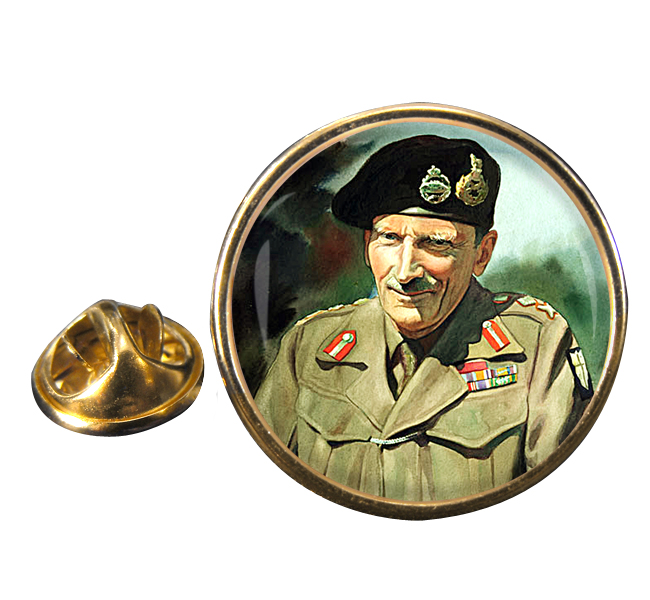 Field Marshal Bernard Law Montgomery Round Pin Badge