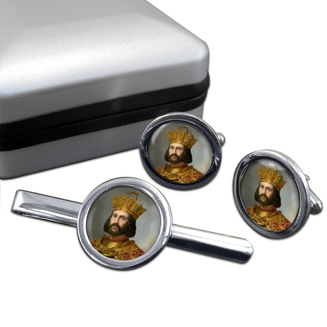Holy Roman Emperor Otto I Round Cufflink and Tie Clip Set