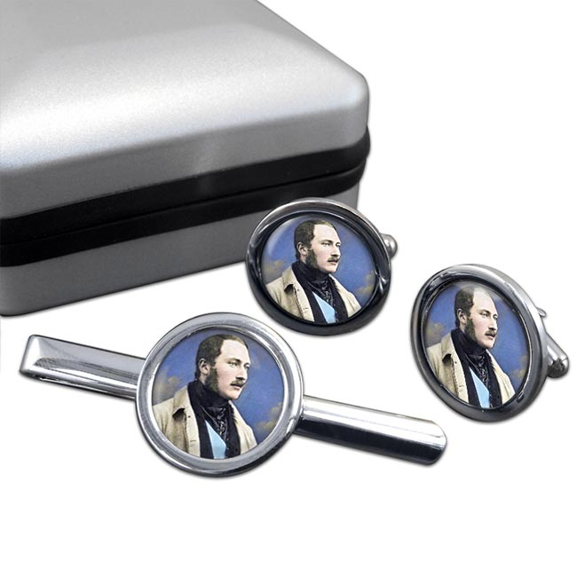 Albert Prince Consort Round Cufflink and Tie Clip Set