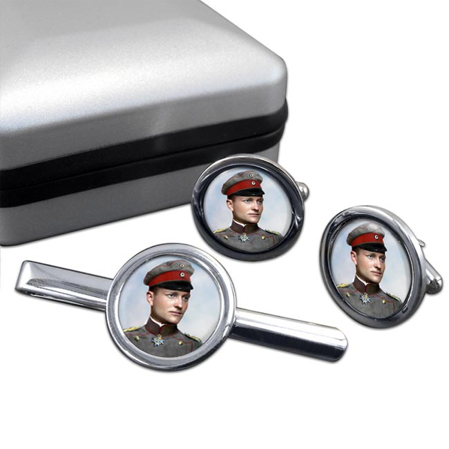 Manfred von Richthofen Round Cufflink and Tie Clip Set