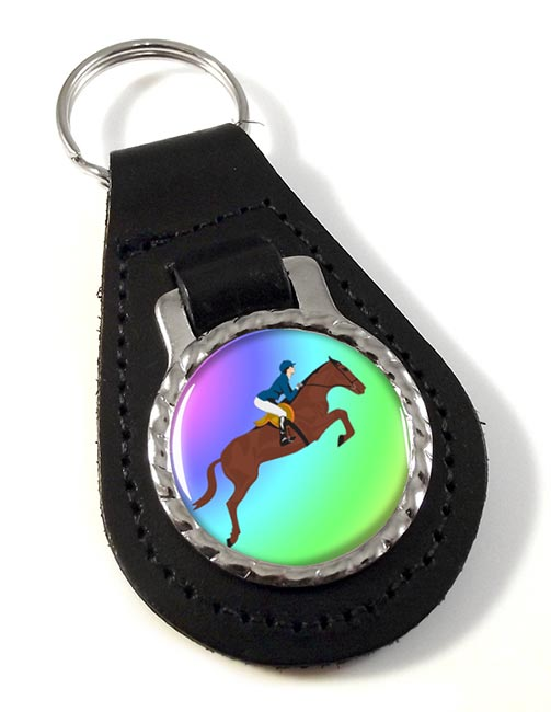 Show Jumper Leather Key Fob