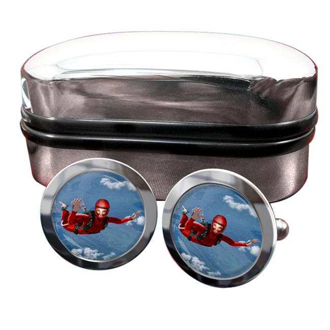 Skydiving Round Cufflinks