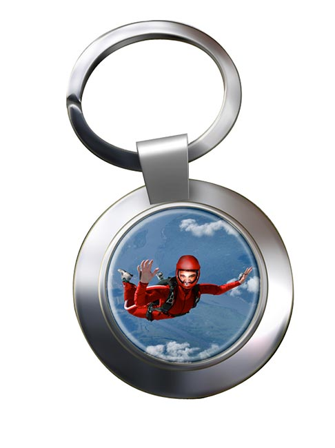 Skydiving Chrome Key Ring