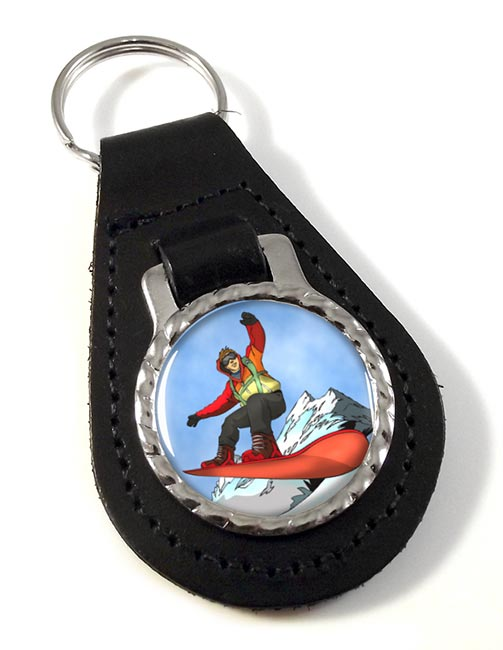 Snowboard Leather Key Fob