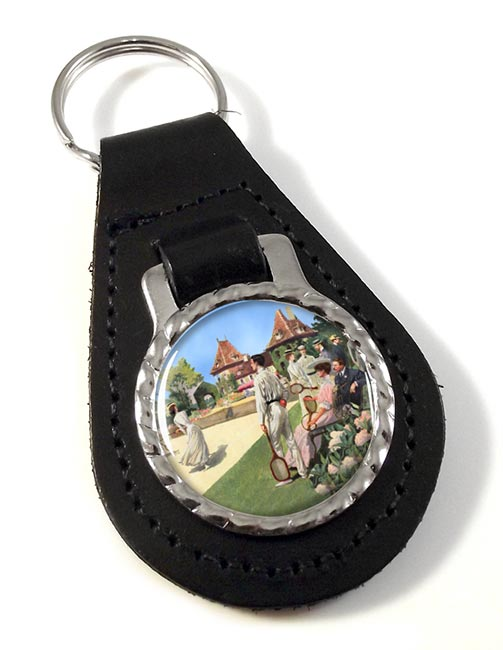 Tennis Leather Key Fob