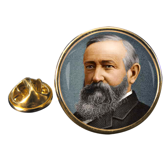 President Benjamin Harrison Round Pin Badge