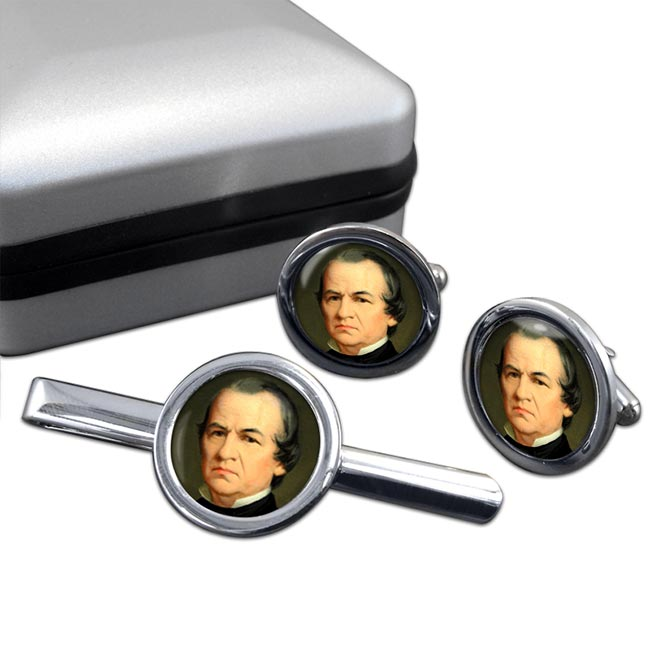 President Andrew Johnson Round Cufflink and Tie Clip Set