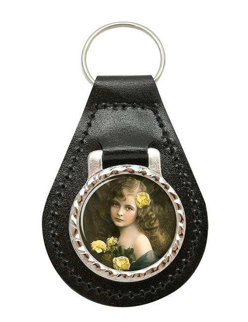 Victorian Girl with Yellow Roses Leather Key Fob