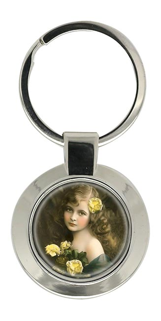 Victorian Girl with Yellow Roses Key Ring