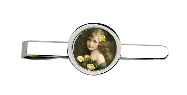 Victorian Girl with Yellow Roses Tie Clip