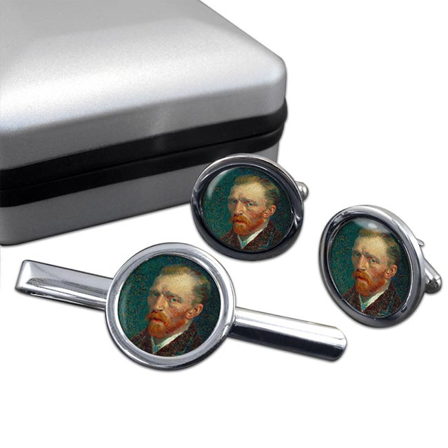 Vincent Van Gogh Round Cufflink and Tie Clip Set