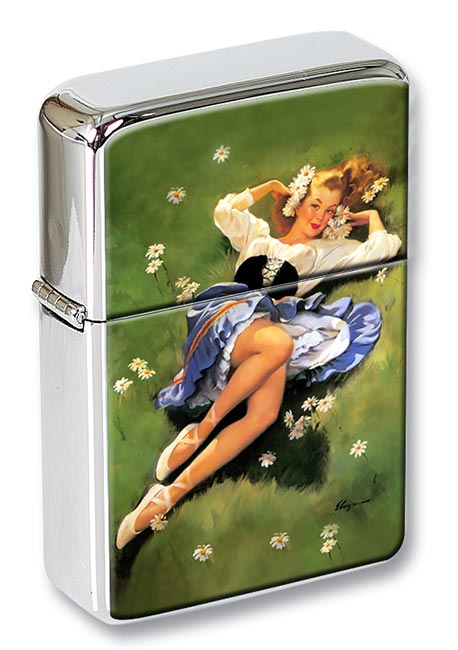 Daisy Pin-up Girl Flip Top Lighter