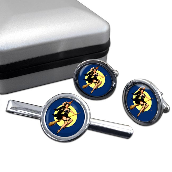 Witch's Delight Pin-up Girl Round Cufflink and Clip Set