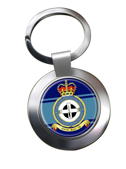 RAuxAF Regiment No. 2625 Chrome Key Ring