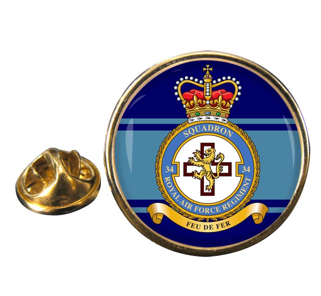 Royal Air Force Regiment No. 34 Round Pin Badge