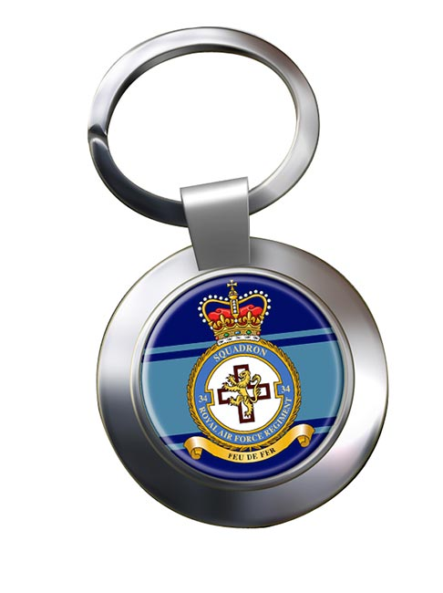 Royal Air Force Regiment No. 34 Chrome Key Ring