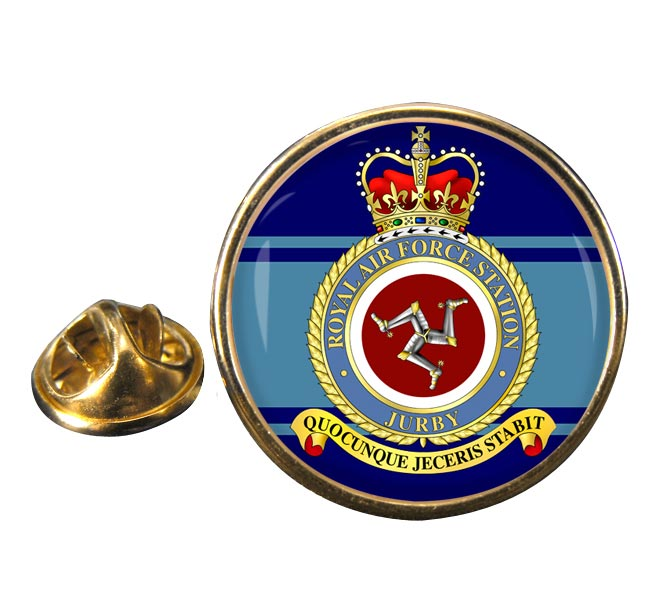 RAF Station Jurby Round Pin Badge