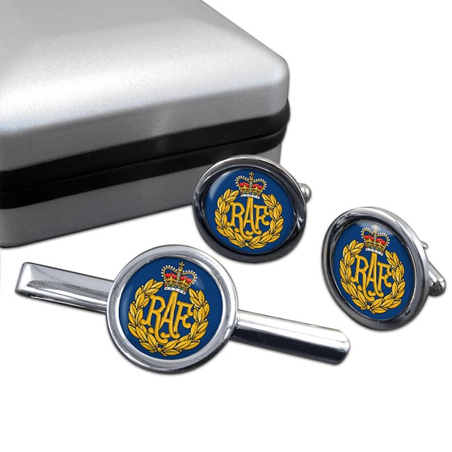 Royal Air Force Badge Round Cufflink and Tie Clip Set