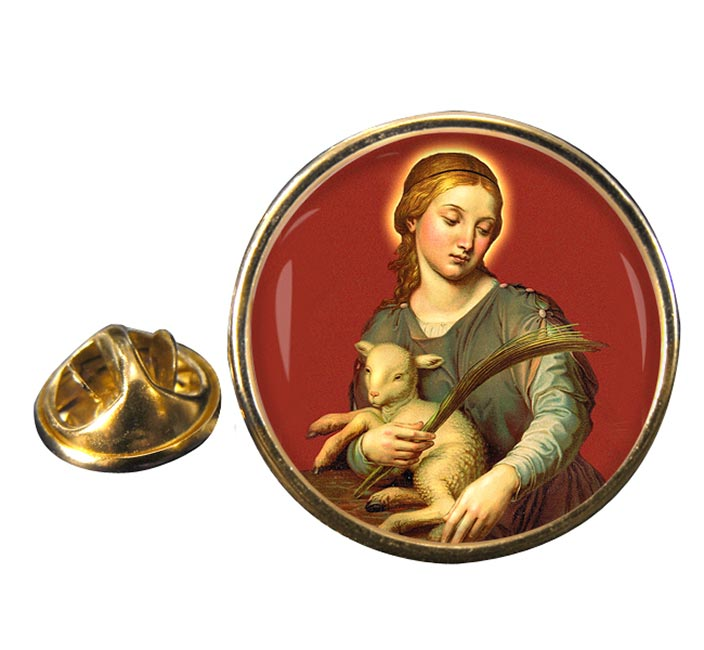 St. Agnes of Rome Round Pin Badge