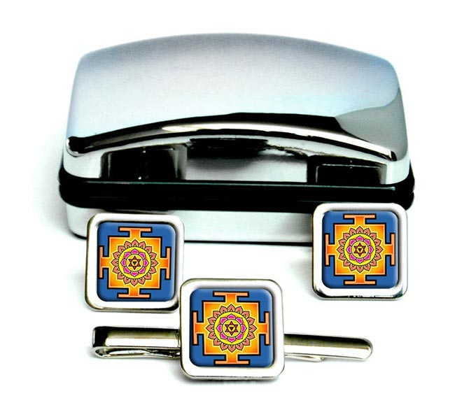 Bhagalamukhi Yantra Square Cufflink and Tie Clip Set